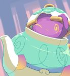 @_@ aquabluu blush gen_8_pokemon highres no_humans pokemon pokemon_(creature) pokemon_(game) pokemon_swsh polteageist purple_background simple_background solo teapot
