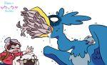 >_< 1boy artist_name asphyxiation bano_akira bird bird_wings brown_hair choking cramorant fish fish_in_mouth full_mouth hat knit_hat male_protagonist_(pokemon_swsh) o_o panicking parody pokemon pokemon_(creature) pokemon_(game) pokemon_swsh red_shirt saliva sheep shirt wings wooloo