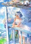 1girl animal bangs bare_arms bicycle blue_hair blue_sky bubble bubble_blowing cat clouds collarbone commentary day dress english_commentary flower ground_vehicle head_wreath highres holding marmalade_(elfless_vanilla) original outdoors ribbon short_hair sky standing summer veranda white_dress