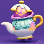 3d @_@ artist_name gen_8_pokemon henry_vargas instagram instagram_username no_humans pokemon pokemon_(creature) pokemon_swsh polteageist purple_background purple_skin smile teapot