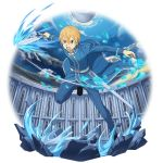 1boy black_footwear blonde_hair blue_eyes blue_pants blue_rose_sword eugeo highres holding holding_sword holding_weapon leg_up male_focus official_art open_mouth outstretched_arms pants running sheath solo sword sword_art_online transparent_background v-shaped_eyebrows weapon