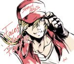 1boy absurdres artist_request baseball_cap blonde_hair blue_eyes fatal_fury fingerless_gloves gloves hat highres jacket long_hair looking_at_viewer male_focus muscle ponytail smile snk solo super_smash_bros. terry_bogard the_king_of_fighters