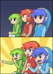 3boys blue_hair cheering eyebrows_visible_through_hair gaijin_4koma green_hair hat link meme multiple_boys multiple_persona parody redhead sidelocks the_legend_of_zelda the_legend_of_zelda:_tri_force_heroes toon_link tunic yan531