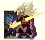 2boys arm_at_side black_pants blue_hair boots chibi city commentary_request dark_sky dougi dragon_ball dragon_ball_super earrings energy_sword facing_away fenyon full_body fused_zamasu gloves green_skin jewelry kneeling legs_apart long_sleeves looking_at_another male_focus multiple_boys outdoors outside_border outstretched_arm pants potara_earrings profile spiky_hair stabbed stabbing standing super_saiyan_blue sword twitter_username vegetto weapon white_footwear white_gloves white_hair wide-eyed zamasu