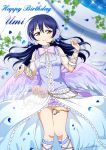 1girl absurdres bangs birthday blue_hair character_name commentary_request english_text feathered_wings feathers flower hair_between_eyes hair_flower hair_ornament hairclip happy_birthday highres long_hair looking_at_viewer love_live! love_live!_school_idol_festival love_live!_school_idol_project lying microphone on_back on_floor parted_lips petals ribbon shiratama_(siratama_ll) smile solo sonoda_umi white_wings wings x_hair_ornament yellow_eyes
