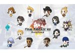 ... 5girls 6+boys bandana blonde_hair brown_hair chakram chibi closed_eyes copyright_name cowboy_hat drooling edea_kramer everyone final_fantasy final_fantasy_viii fuujin_(ff8) gun gunblade hat highres hug irvine_kinneas izumisawa_yasuhisa kiros_seagill laguna_loire logo_parody multiple_boys multiple_girls official_art pupu_(ff8) quistis_trepe raijin_(ff8) rinoa_heartilly seifer_almasy selphie_tilmitt sleeping smile spoken_ellipsis squall_leonhart staff ward_zabac weapon zell_dincht
