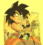 1boy animal bah_(dragon_ball) black_eyes black_hair boots broly_(dragon_ball_super) candy candy_bar chewing chibi clenched_teeth clothes_around_waist commentary_request crossed_legs day dragon_ball dragon_ball_super_broly drooling eating facial_scar fenyon fingernails food food_on_face full_body holding holding_food light_rays male_focus muscle outdoors purple_legwear red_eyes saliva scar scar_on_cheek shirtless sitting spiky_hair sunlight teeth torn_clothes torn_legwear twitter_username waist_cape white_footwear wristband