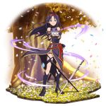 1girl ahoge black_footwear black_leotard boots detached_sleeves faux_figurine floating_hair full_body hair_intakes hairband highres holding knee_boots leotard long_hair long_skirt long_sleeves looking_at_viewer official_art petals pointy_ears purple_hair purple_skirt purple_sleeves red_eyes red_hairband shiny shiny_hair side_slit skirt smile solo standing sword sword_art_online transparent_background tree very_long_hair weapon yuuki_(sao)