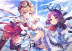 2girls :3 ascot bangs black_footwear blonde_hair blue_bow blue_eyes blue_sky blush boots bow brown_eyes brown_gloves brown_legwear brown_shorts closed_mouth clouds cloudy_sky commentary_request day dress eiyuu_densetsu eyebrows_visible_through_hair fingernails frilled_dress frilled_sleeves frills gloves goggles goggles_on_head hair_between_eyes helmet holding_hands interlocked_fingers legwear_under_shorts long_hair long_sleeves multiple_girls outdoors pantyhose parted_lips purple_hair red_footwear red_headwear red_neckwear renne sailor_collar shirt shoes short_shorts short_sleeves shorts sidelocks sky sleeves_past_wrists socks sora_no_kiseki stuffed_animal stuffed_bunny stuffed_toy tita_russell twintails utm white_dress white_legwear white_sailor_collar white_shirt