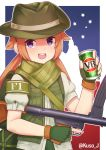 1girl alcohol artist_name australia beer beer_can blush brown_hair can convenient_censoring f1_(girls_frontline) fingerless_gloves girls_frontline gloves green_gloves green_headwear gun hat highres holding holding_gun holding_weapon jacy long_hair looking_at_viewer open_mouth puffy_short_sleeves puffy_sleeves short_sleeves smile solo submachine_gun twintails twitter_username upper_teeth vb_(beer) violet_eyes weapon