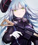 1girl assault_rifle bangs beret commentary facial_mark girls_frontline gloves green_eyes gun h&k_hk416 hair_between_eyes hair_ornament hat highres hk416_(girls_frontline) holding holding_gun holding_weapon jacket kunoki_toki long_hair long_sleeves looking_at_viewer parted_lips rifle silver_hair simple_background solo upper_body weapon white_gloves