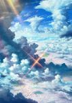blue_sky cityscape clouds fish from_above highres jewelry kami_(yoshipt0716) no_humans ring scenery sky sparkle sunlight tenki_no_ko