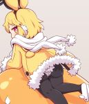 1girl absurdres animal_ears animal_slippers black_legwear blonde_hair bright_pupils bunny_slippers disgaea earmuffs eyebrows_visible_through_hair fake_animal_ears fur-trimmed_jacket fur-trimmed_sleeves fur_trim highres hood hood_down hooded_jacket jacket long_sleeves makai_senki_disgaea_5 panties panties_over_pantyhose pantyhose pink_eyes prinny rabbit_ears short_hair slippers underwear usalia_(disgaea) white_footwear white_panties white_pupils yellow_jacket yuya090602