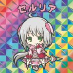 1girl ahoge bikkuriman_(style) blush capelet character_name chibi closed_mouth dress flower_knight_girl full_body green_eyes grey_hair hair_ribbon hand_up holding long_hair long_sleeves looking_at_viewer parody pink_capelet pink_dress pink_legwear pink_ribbon puffy_long_sleeves puffy_sleeves ribbon rinechun serruria_(flower_knight_girl) shoes sleeves_past_wrists smile socks solo standing very_long_hair white_footwear