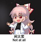 1girl :d alternate_costume black_background black_shirt blazer bow chibi chinese collared_shirt commentary_request dress_shirt english_text eyebrows_visible_through_hair fujiwara_no_mokou hair_bow jacket long_hair long_sleeves lowres open_clothes open_jacket open_mouth pants partial_commentary red_eyes shangguan_feiying shirt smile touhou translation_request very_long_hair white_jacket white_pants