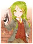 1girl absurdres alternate_costume alternate_hairstyle bangs blush brick_wall crescent crescent_hair_ornament crossdressing eyebrows_visible_through_hair gloves green_eyes green_hair gun hair_ornament hairclip hand_on_hip handgun highres holding holding_gun holding_weapon holster jacket kantai_collection long_hair long_sleeves nagatsuki_(kantai_collection) necktie one_eye_closed open_mouth pants ponytail shell_casing shirt smoke solo suzushiro_(gripen39) tomboy vest weapon white_gloves yellow_neckwear
