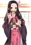 1girl absurdres bad_hands bamboo bangs bit_gag black_hair blurry blurry_background blush brown_hair checkered claw_pose commentary_request depth_of_field eyebrows_visible_through_hair fingernails forehead gag gradient_hair hair_ribbon highres japanese_clothes kamado_nezuko kimetsu_no_yaiba kimono long_sleeves mouth_hold multicolored_hair nail_polish norazura obi open_clothes parted_bangs pink_kimono pink_ribbon red_nails ribbon sash solo violet_eyes wide_sleeves window