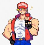 1boy baseball_cap blonde_hair blue_eyes denaseey fatal_fury fingerless_gloves gloves hat jacket long_hair looking_at_viewer male_focus muscle one_eye_closed pants ponytail smile solo super_smash_bros. terry_bogard the_king_of_fighters v