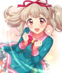 1girl :d absurdres aikatsu!_(series) aikatsu_on_parade! bangs blunt_bangs blush bow bowtie clenched_hands close-up commentary_request dress eyebrows_visible_through_hair hair_ribbon happy highres kiseki_raki lens_flare light_brown_hair long_hair looking_at_viewer open_mouth pink_eyes pink_sailor_collar ribbon sailor_collar sekina sidelocks smile solo star_harmony_academy_uniform twintails