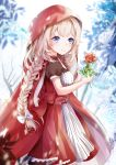 1girl bangs bare_tree black_legwear blue_eyes blurry blurry_background blurry_foreground blush braid breasts cape capelet closed_mouth commentary_request depth_of_field dress eyebrows_visible_through_hair fate/grand_order fate_(series) flower heroic_spirit_festival_outfit highres holding holding_flower light_brown_hair long_hair marie_antoinette_(fate/grand_order) multicolored multicolored_cape multicolored_clothes mutang pantyhose pink_cape puffy_short_sleeves puffy_sleeves red_capelet red_dress red_flower red_rose rose short_sleeves small_breasts smile solo tree veil very_long_hair