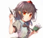 1girl black_hair black_neckwear blush bow bowtie commentary_request eyebrows_visible_through_hair fountain_pen hair_between_eyes hat head_tilt highres holding holding_notebook holding_pen ikazuchi_akira index_finger_raised looking_at_viewer notebook pen pointy_ears puffy_short_sleeves puffy_sleeves red_eyes red_headwear shameimaru_aya shirt short_hair short_sleeves simple_background smile solo tokin_hat touhou upper_body white_background white_shirt