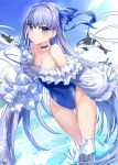 1girl ass_visible_through_thighs bangs bare_shoulders blue_ribbon blue_sky blue_swimsuit blush breasts choker closed_eyes clouds covered_navel day eyebrows_visible_through_hair fate/grand_order fate_(series) frills gendo0032 greaves hair_between_eyes hair_ornament hair_ribbon highleg highleg_swimsuit long_hair looking_at_viewer meltryllis meltryllis_(swimsuit_lancer)_(fate) ocean one-piece_swimsuit outdoors puffy_sleeves purple_hair ribbon sky sleeves_past_fingers sleeves_past_wrists small_breasts swimsuit thighs very_long_hair water whale
