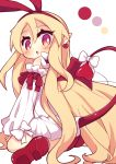 1girl :o absurdres ass blonde_hair bow bright_pupils demon_girl demon_tail demon_wings detached_sleeves disgaea earrings eyebrows_visible_through_hair flonne flonne_(fallen_angel) from_behind hair_between_eyes hairband heart heart_earrings highres jewelry long_hair long_sleeves looking_back makai_senki_disgaea mini_wings no_nose pink_eyes pointy_ears red_footwear red_hairband red_wings shoes sleeves_past_wrists solo tail tail_bow tail_raised very_long_hair white_background white_bow white_pupils wings yuya090602