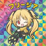 1girl ;d ahoge bangs bikkuriman_(style) black_legwear black_ribbon black_sailor_collar black_skirt blonde_hair blush character_name chibi eyebrows_visible_through_hair flower_knight_girl freesia_(flower_knight_girl) full_body gatling_gun hair_grab hair_ribbon long_hair looking_at_viewer one_eye_closed open_mouth parody pleated_skirt red_eyes ribbon rinechun sailor_collar school_uniform serafuku shirt shoes skirt smile solo standing standing_on_one_leg thigh-highs translated twintails very_long_hair yellow_footwear yellow_shirt