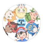 3boys 3girls black_eyes black_hair blonde_hair blue_eyes blue_hair brown_eyes chibi green_eyes green_hair kaki_(pokemon) lillie_(pokemon) mamane_(pokemon) mao_(pokemon) mei_(maysroom) multiple_boys multiple_girls orange_hair pokemon pokemon_(anime) pokemon_sm_(anime) satoshi_(pokemon) suiren_(pokemon)