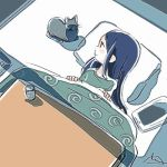 1girl artist_request cat cup fore jill_stingray kotatsu looking_at_another night pillow purple_hair shadow shirt t-shirt table tablet_pc teacup va-11_hall-a