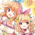 2girls ;d arm_up bangs bare_shoulders blonde_hair blurry blurry_background blush bow braid breasts brown_hair candy_hair_ornament commentary_request depth_of_field detached_sleeves diagonal_stripes eyebrows_visible_through_hair flower food_themed_hair_ornament futaba_anzu hair_between_eyes hair_ornament hair_over_shoulder hair_ribbon heart heart-shaped_pupils heart_hair_ornament idolmaster idolmaster_cinderella_girls long_hair medium_breasts moroboshi_kirari multiple_girls one_eye_closed open_mouth polka_dot_ribbon puffy_sleeves red_eyes red_ribbon ribbon sawa_(sawasaku) smile sparkle star striped sunflower symbol-shaped_pupils twin_braids unmoving_pattern upper_body white_background white_sleeves yellow_bow yellow_flower