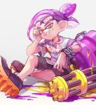 1boy absurdres collared_shirt domino_mask fang full_body glasses grin heavy_splatling_(splatoon) highres inkling looking_at_viewer mask mkakimikan ponytail purple_hair red_eyes shirt shorts simple_background smile solo splatoon_(series) splatoon_2 tentacle_hair white_background