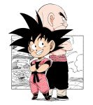 2boys arena bald black_eyes black_hair black_pants boots building chibi clenched_teeth commentary_request crossed_arms dougi dragon_ball dragon_ball_(classic) fenyon full_body grin height_difference looking_at_another looking_back male_focus multiple_boys outdoors outside_border pants profile shadow shirtless simple_background smile son_gokuu spiky_hair standing sweatpants teeth tenshinhan twitter_username white_background wristband