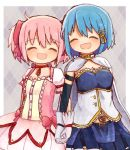 2girls bangs belt blue_eyes blue_hair cape dress hair_ornament hair_ribbon hairclip holding_hands kaname_madoka looking_at_another mahou_shoujo_madoka_magica miki_sayaka multiple_girls musical_note_hair_ornament okayutoma open_mouth pink_eyes pink_hair ribbon short_hair skirt smile soul_gem twintails