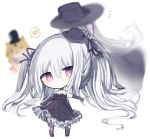 1girl bangs bare_shoulders black_choker black_dress black_gloves black_headwear black_legwear black_ribbon blush chibi choker closed_mouth cottontailtokki dress elbow_gloves eyebrows_visible_through_hair frilled_dress frills full_body gloves granblue_fantasy hair_between_eyes hair_ribbon hat head_tilt highres long_hair looking_at_viewer mini_hat orchis red_eyes ribbon shingeki_no_bahamut silver_hair simple_background standing strapless strapless_dress thigh-highs tilted_headwear torn_clothes torn_legwear twintails very_long_hair white_background