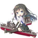 1girl arm_warmers asashio_(destroyer) asashio_(kantai_collection) black_hair black_legwear black_skirt blue_eyes character_name commentary_request full_body gotou_hisashi heart kantai_collection long_hair looking_at_viewer machinery namesake object_namesake pleated_skirt riding ship shirt short_sleeves simple_background skirt smile smokestack solo suspender_skirt suspenders thigh-highs watercraft white_background white_shirt