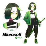 1girl absurdres bandaid bandaid_on_face belt belt_buckle black_pants buckle closed_mouth dark_green_hair flat_chest full_body green_eyes green_hair green_jacket hand_in_pocket highres holding holding_sword holding_weapon jacket katana leg_belt looking_at_viewer looking_to_the_side microsoft multicolored_hair multiple_views open_mouth original os-tan pants parted_lips personification scabbard sheath shirt shoes short_hair shoulder_belt sidelocks simple_background standing sword two-tone_hair upper_body v-shaped_eyebrows vinne weapon white_background white_shirt xbox xbox_one xbox_one_(personification)