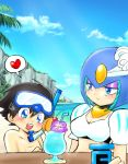 1boy 1girl android beach black_hair blue_eyes blue_sky blush breasts capcom child diving_mask_on_head energy_tank eyeshadow heart helmet makeup ocean open_mouth rockman rockman_(character) rockman_(classic) rockman_9 sky smile snorkel splash_woman spoken_heart tom_cat white_bikini_top