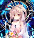 1girl ayanami_(azur_lane) azur_lane bangs bare_shoulders blonde_hair bouquet breasts bug butterfly choker closed_mouth collarbone commentary_request dress elbow_gloves flower gloves hair_between_eyes hair_ornament headgear holding holding_bouquet insect long_hair looking_at_viewer orange_eyes ponytail retrofit_(azur_lane) shirokitsune sleeveless sleeveless_dress small_breasts smile solo strapless strapless_dress upper_body wedding_dress white_dress white_gloves