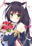 1girl animal_ear_fluff animal_ears bangs bare_shoulders black_hair black_sleeves blurry blurry_background blush bouquet bow brown_bow cat_ears cat_tail closed_mouth commentary_request depth_of_field detached_sleeves eyebrows_visible_through_hair flower green_eyes hair_between_eyes hair_bow kujou_danbo kyaru_(princess_connect) long_hair long_sleeves looking_at_viewer low_twintails multicolored_hair navel pink_flower pink_rose princess_connect! princess_connect!_re:dive red_flower red_rose rose shirt sleeveless sleeveless_shirt solo streaked_hair sweat tail translated twintails upper_body v-shaped_eyebrows very_long_hair wavy_mouth white_hair white_shirt wide_sleeves