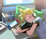 1boy arm_support arm_warmers black_collar blonde_hair book closed_eyes collar collared_shirt computer desk glass green_pillow handheld_game_console hard_drive head_on_hand head_rest headphones indoors instrument kagamine_len keyboard_(computer) keyboard_(instrument) light_blush male_focus monitor naoko_(naonocoto) necktie parted_lips pillow sailor_collar school_uniform shirt short_hair short_ponytail short_sleeves sleeping solo speaker spiky_hair vocaloid white_shirt yellow_neckwear