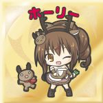 1girl ;d animal animal_ears antlers blush boots brown_dress brown_eyes brown_footwear brown_hair brown_hairband brown_sleeves character_name chibi detached_sleeves dress fake_animal_ears fake_antlers flower_knight_girl full_body hair_ornament hairband hairclip holly_(flower_knight_girl) index_finger_raised knee_boots long_hair long_sleeves one_eye_closed open_mouth outstretched_arm ponytail reindeer reindeer_antlers reindeer_ears reindeer_hair_ornament rinechun sidelocks smile solo standing strapless strapless_dress