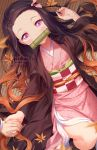 1girl artist_name autumn_leaves bamboo bangs bit_gag black_hair blurry blurry_foreground brown_hair checkered commentary depth_of_field english_commentary fingernails forehead gag gradient_hair hair_ribbon hand_up holding_hands japanese_clothes kamado_nezuko kimetsu_no_yaiba kimono leaf long_hair long_sleeves looking_at_viewer lying maple_leaf mouth_hold multicolored_hair obi on_back on_floor open_clothes parted_bangs pink_eyes pink_kimono pink_ribbon pixiv_username ribbon rimuu sash sharp_fingernails solo_focus twitter_username very_long_hair wide_sleeves