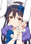 1girl animal_ears bangs blue_hair blue_ribbon blush eyebrows_visible_through_hair hair_between_eyes hair_ornament hair_ribbon kemonomimi_mode long_hair looking_at_viewer love_live! love_live!_school_idol_festival love_live!_school_idol_project polka_dot rabbit_ears ribbon short_sleeves simple_background skull573 solo sonoda_umi white_background yellow_eyes