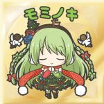 1girl angel_wings bangs blush bow box braid brown_hairband chibi christmas christmas_ornaments christmas_tree closed_eyes closed_mouth dress eyebrows_visible_through_hair facing_viewer flower_knight_girl gift gift_box green_dress green_hair hair_bow hairband long_hair mominoki_(flower_knight_girl) pom_pom_(clothes) red_bow red_scarf rinechun scarf smile solo tree_costume twin_braids very_long_hair white_wings wings