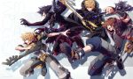 4boys absurdres asymmetrical_clothes black_coat black_coat_(kingdom_hearts) black_gloves black_hair blonde_hair blue_eyes brown_hair clenched_teeth dual_wielding gloves highres holding holding_weapon jacket keyblade kingdom_hearts kingdom_hearts_iii kingdom_key looking_to_the_side midair multiple_boys oathkeeper oblivion_(keyblade) open_mouth outstretched_arm roku_(gansuns) roxas serious shoulder_armor smile sora_(kingdom_hearts) spiky_hair teeth vanitas ventus weapon wristband yellow_eyes