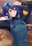 1girl a_meno0 arm_up black_sweater blue_eyes blue_hair blurry_foreground blush brown_hairband closed_mouth eyebrows_visible_through_hair fire_emblem fire_emblem_awakening hair_between_eyes hairband long_hair long_sleeves looking_to_the_side lucina lucina_(fire_emblem) lying on_back outdoors ribbed_sweater shiny shiny_hair smile solo sweater turtleneck turtleneck_sweater upper_body very_long_hair