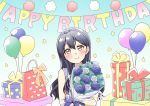 1girl balloon bangs blue_flower blue_hair blush bouquet box commentary_request eyebrows_visible_through_hair flower gift gift_box hair_between_eyes hairband happy_birthday heart highres holding holding_bouquet long_hair looking_at_viewer love_live! love_live!_school_idol_project sleeveless smile solo sonoda_umi takochan77 yellow_eyes