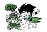 1boy 1girl :d :o baseball_cap black_eyes black_hair boots character_name chibi clothes_writing commentary_request creator_connection crossover dougi dr._slump dragon_ball dragon_ball_z dust eyelashes fenyon fingernails floating_hair flying full_body glasses gloves green_theme happy hat long_hair looking_at_viewer looking_down looking_up monochrome norimaki_arale open_mouth outstretched_arms overalls running shoes simple_background smile sneakers son_gokuu spiky_hair teeth translation_request white_background winged_hat wristband