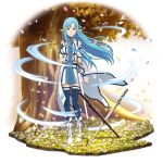 1girl asuna_(sao-alo) blue_eyes blue_hair blue_legwear boots closed_mouth dress faux_figurine floating_hair full_body highres long_hair looking_at_viewer official_art petals pleated_dress pointy_ears sheath short_dress smile solo standing sword sword_art_online thigh-highs transparent_background tree very_long_hair weapon white_footwear zettai_ryouiki